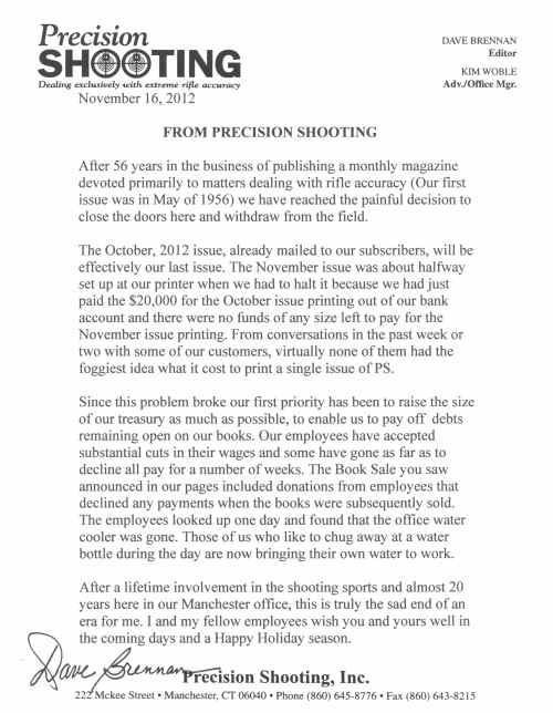 Dave Brennan farewell letter for Precision Shooting Magazine.